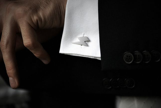 Silver cufflinks in the shape of a lightning graphics. Minimalist design, very precisely and elegantly executed. #mybaze #men #accessories