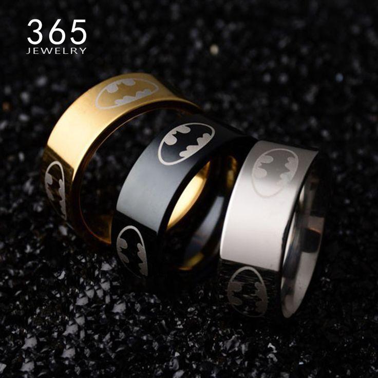 """8 מ""""מ תכשיטי אצבע 316l נירוסטה אנל באטמן טבעת זהב שחור titanium מצופה טבעות נישואים מסיבת נשים גברים מתנה"""