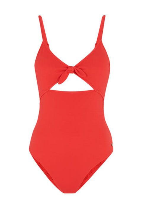 Keep your beach style on point with this bold red swimsuit with tie up detail.  Red swimsuit, £75, Whistles