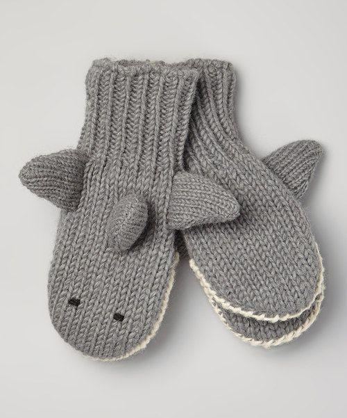 Nirvanna Gray Shark Wool Mittens Warm, Sharks and Kid