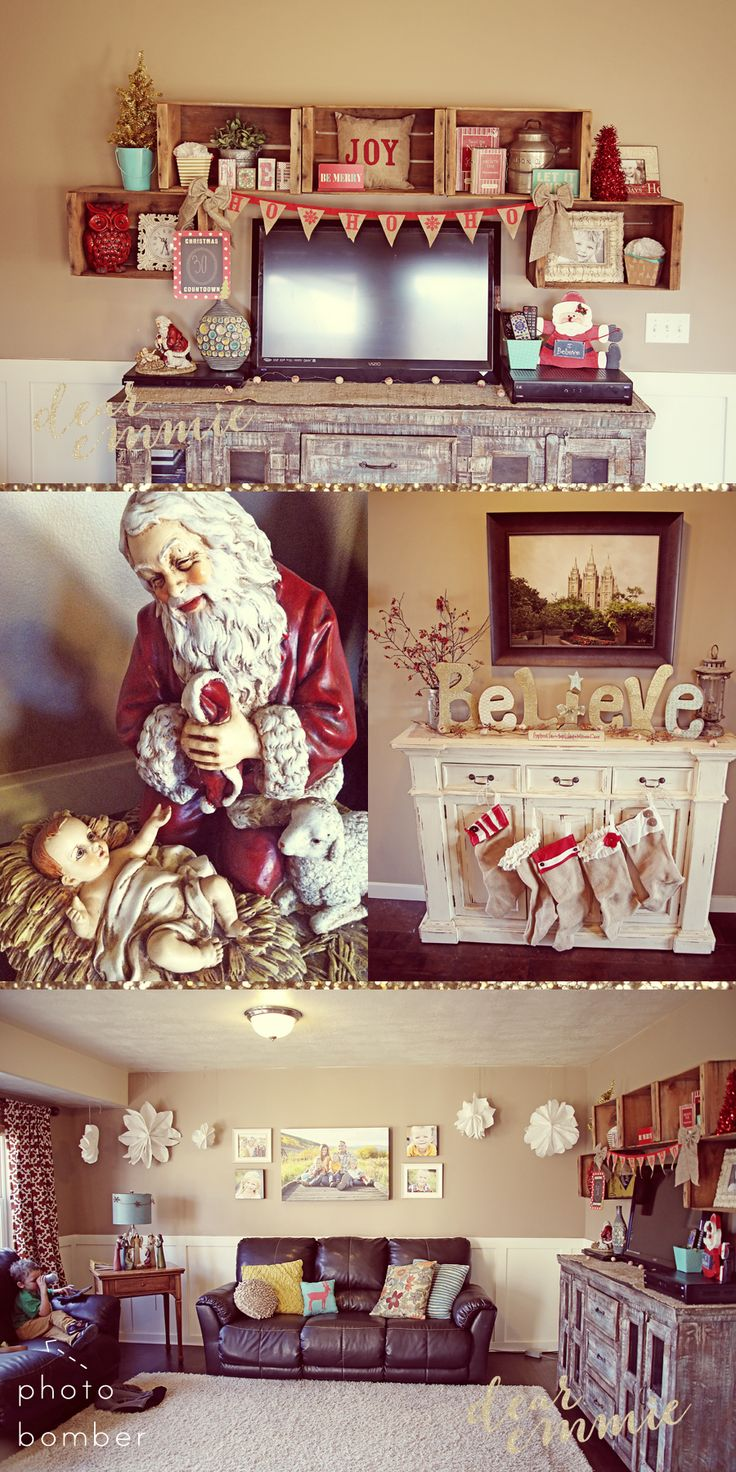 Dear Emmie Cheap Christmas Decor. Vintage/Modern.... This living room is cute.