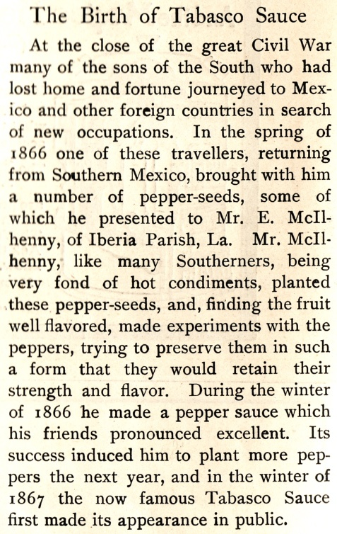The Birth of Tabasco Sauce article from The Boston Cooking School Magazine 1902