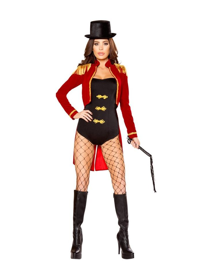 Four piece Ring Leader Costume Includes Strapless Romper, Jacket with Fringe Shoulder Pads and Gold Trim, Top Hat, & Whip Fabric: Poly/Spandex Sizes: S, M, L Also Shown and Sold Separately: - Open Fis