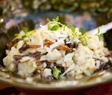 I mötet mellan risotto och svamp uppstår verklig smakmagi! Det är bara något som säger klick. Välj den sorts svamp skogen eller butiken erbjuder, kantareller eller italienarnas favoritsvamp Karl Johan blir minst lika gott.