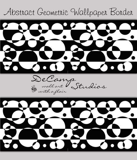 Abstract Wallpaper Border Black White Wall Decal Geometric Design