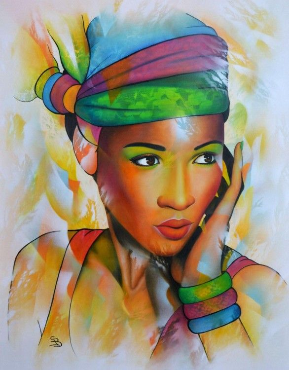 Jeannette Guichard-Bunel (©2014 jeannetteguichardbunel.com) portrait de femme noire en couleurs