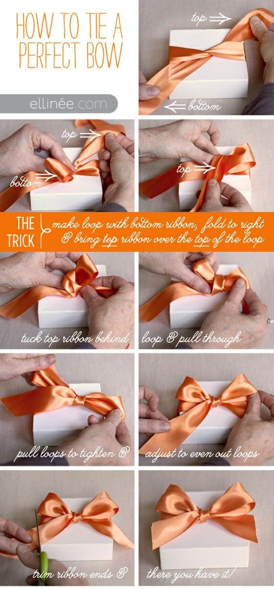 How to Tie a Bow like Tiffany'sTies A Bows, Ideas, Ribbons Bows, Bows Ties, Perfect Bows, Make A Bows, Diy Gift, Gift Wraps, Life Hacks