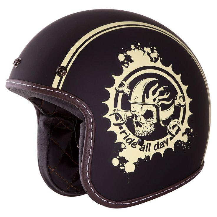 "3/4 Retro Helmet [DOT]- ""Ride All Day"" Open Face, Matte Black, Yellow Skull Helmet by IV2: Automotive"