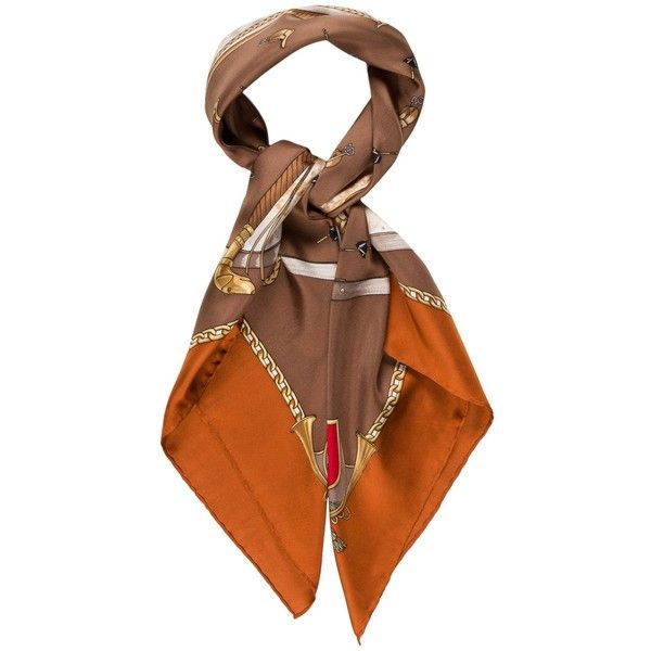 Pre-owned Gucci Silk Printed Scarf ($175) ❤ liked on Polyvore featuring accessories, scarves, orange, orange silk scarves, colorful scarves, gucci, gucci shawl and orange shawl