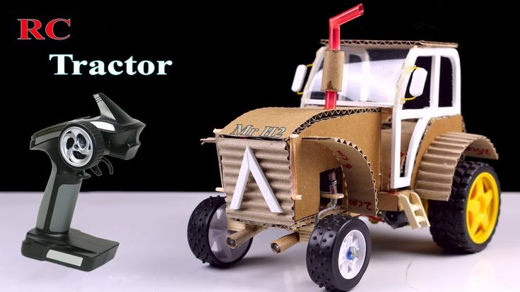 Rc Tractor from cardboard ! How to Make simple romote control Tractor Ac...