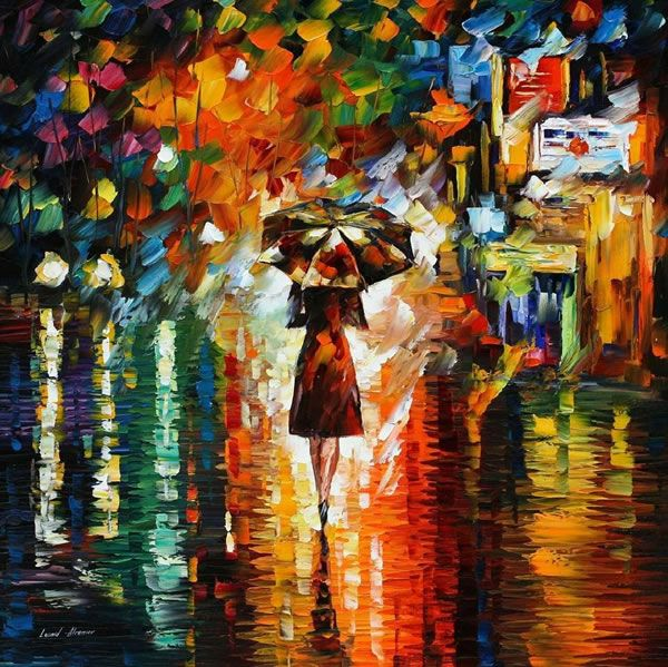 Leonid Afremov is one of the most unique artists, and has many pictures depicting rain with unique colors. I think I love this one most, because its simply one woman. Alone in the rain.