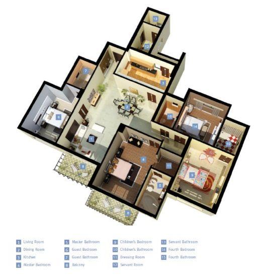 50 Four Bedroom Apartment House Plans