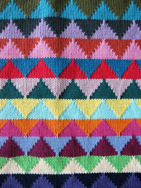 Triangle Station Knit with 24 Colors!   Would be a great pattern for a sweater :-)