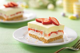 Creamy lemon and fresh strawberry layers make every bite a luscious mix of bright citrus and sweet berry.