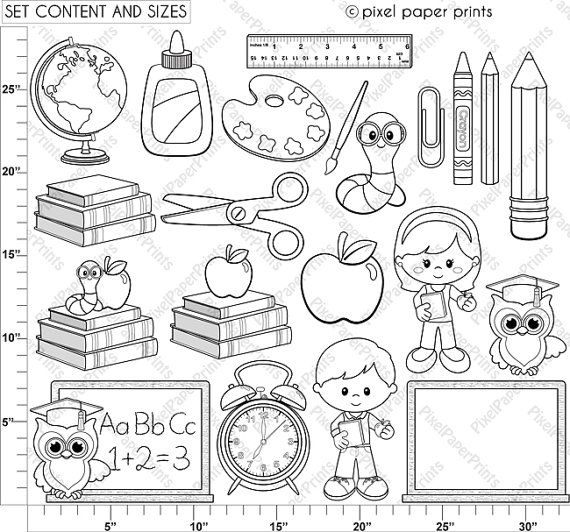 Back to school Digital Stamps Clipart line by pixelpaperprints