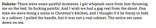 Dakota on getting whiplash during shooting and playing a prank on set. #FiftyShades