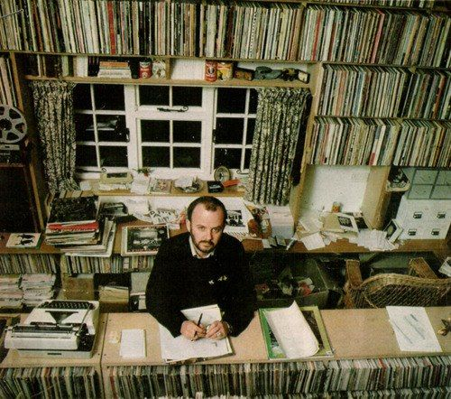 In his Donegal tweed thong, a trouserless Peel. Peel's record collection. John Peel archive
