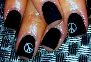 Black acrylic peace sign nail art  www.facebook.com/alexcolenailstudio