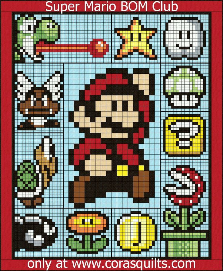 Super Mario Brothers FREE Quilt Along and Block of the Month Club at Cora's Quilts - Join our new BOM club starting in OCTOBER 2015!