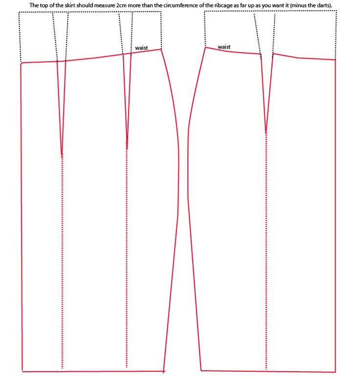 House of Marmalade: High waisted pencil skirt pattern from regular pencil skirt pattern.