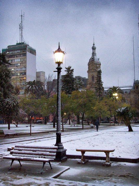 Nieve en invierno, Bahía Blanca, prov. de Buenos Aires, AR