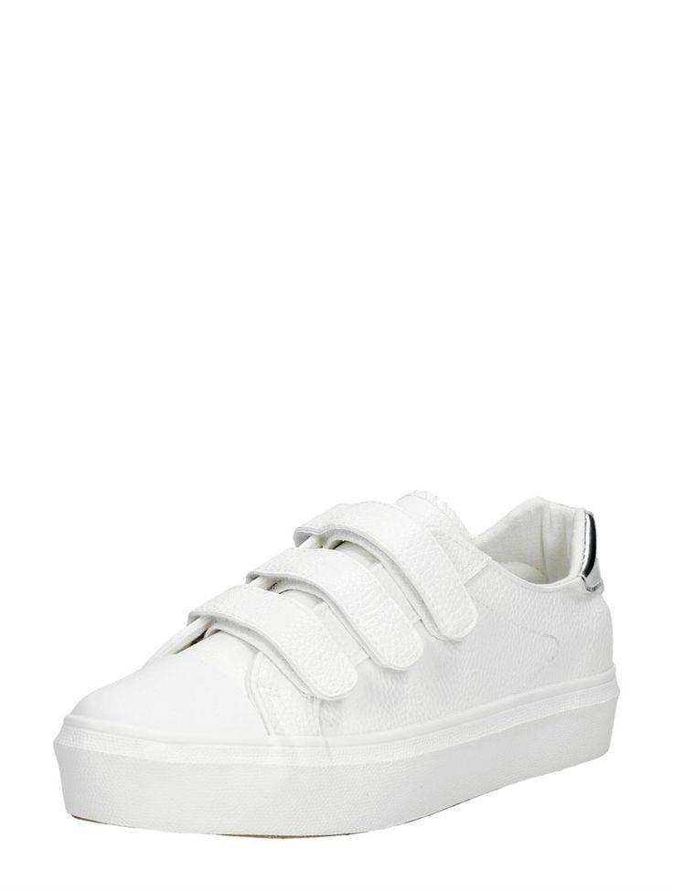 Visions witte dames sneakers met klittenband en gouden detail op de hak