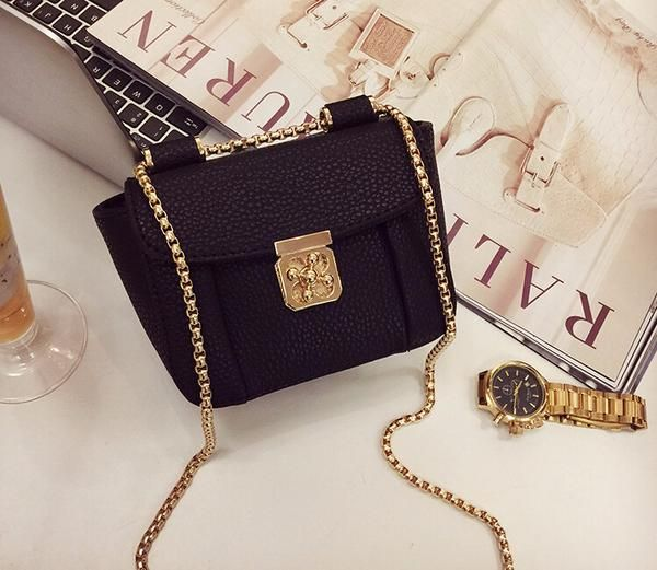 Street Style Stylish Lock Button Chain Mini Shoulder Bag - Accessories by Zeelous