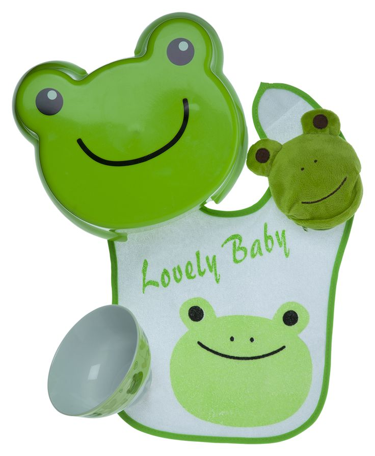 Baby gift set idea ft. Lovely baby frog with matching bib, stool, bowl and purse