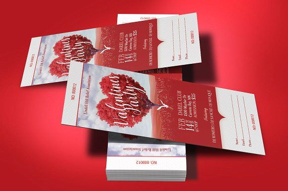 Tree Heart Valentines Party Ticket by Godserv Designs on @creativemarket