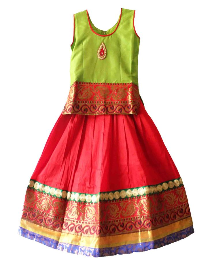 Neon green with red pattu pavadai size : 5-6 years Price: Rs 975 Free shipping all over India whatsapp: +91-9629187349  http://www.princenprincess.in/index.php/home/product/359/Neon%20Green%20and%20red%20with%20blue%20border%20pavadai