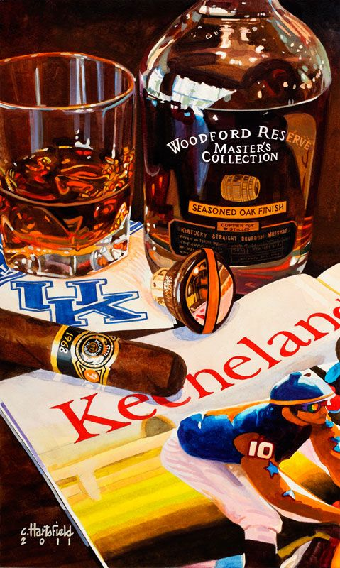 "Chris Hartsfield painting  ""Kentucky Faves"" Woodford Reserve Master's Collection, Keeneland Magazine"