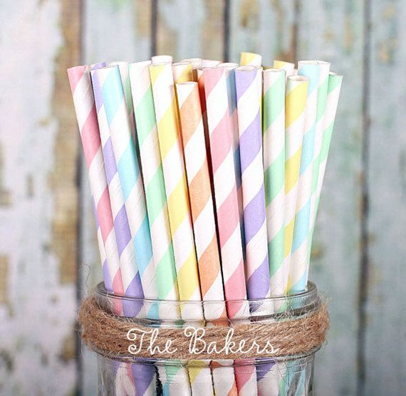 Pastel Rainbow stripe paper straws are perfect for Easter, birthdays, parties and summer entertaining. Use them for drink markers, cake pop sticks or even for some fun spring crafts! | The Bakers Confections & Bakers Party Shop
