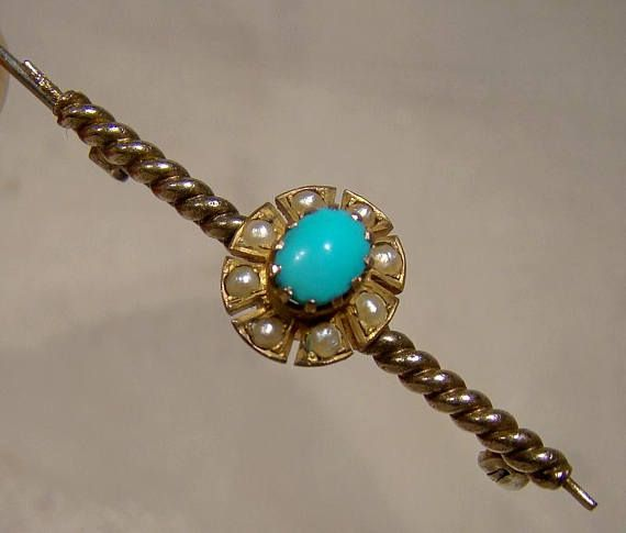 10K Edwardian Turquoise and Pearls Twist Shaft Bar Pin Brooch
