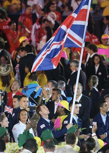 #RIO2016 Team leader of Great Britain Andy Murray during the Olympic Games opening ceremony at Maracana Stadium on August 5 2016 in Rio de Janeiro Brazil