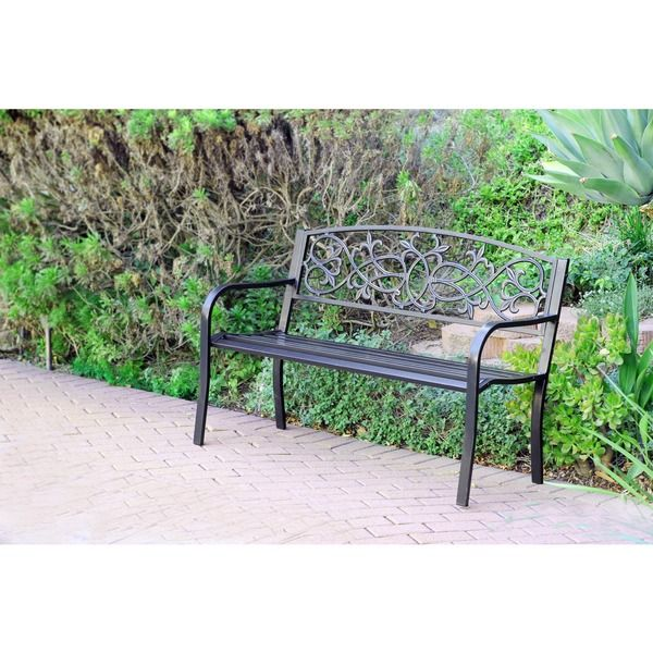 Scrolling Hearts Curved-back Steel Park Bench - Overstock™ Shopping - Great Deals on Outdoor Benches