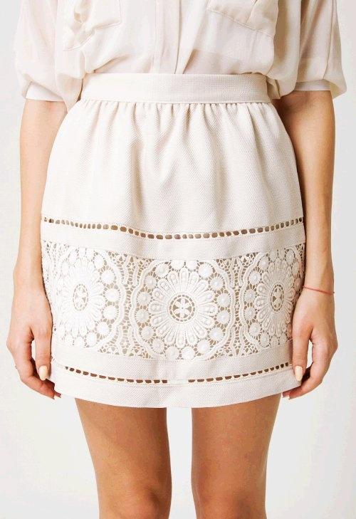 Beige delicate crochet skirt