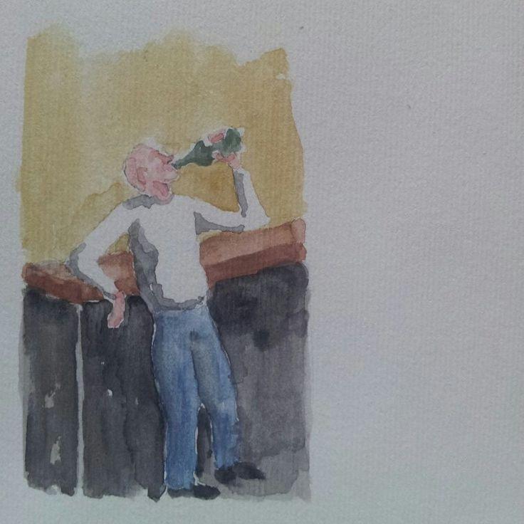 Lui che beve. He drinking #artwork #watercolor #acquerello #acquerelli #watercolours #mywatercolors #mywatercolor