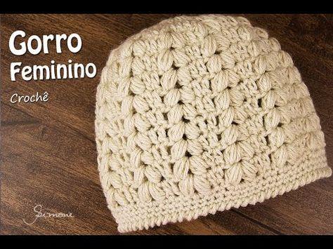 Gorro Feminino de Crochê | Passo a passo | Professora Simone - YouTube