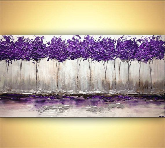 "Modern Purple Silver Landscape Blooming Tree Painting Signed Palette Knife Original Acrylic Painting by Osnat 60""x30"""