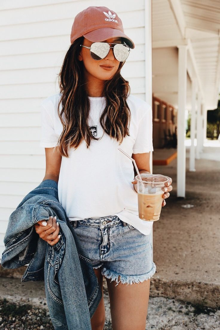 50472190ada  Summer  Outfits   White T Shirt + Denim Short Shorts