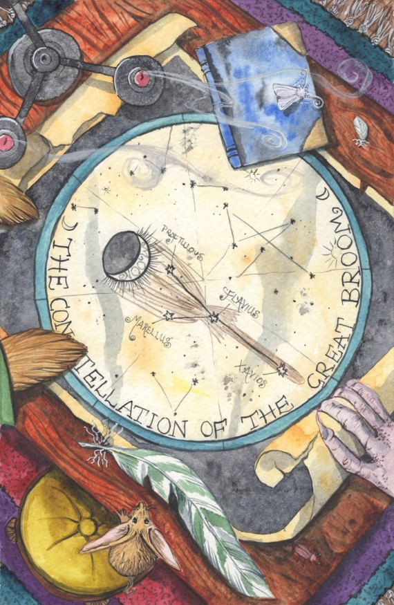 The Constellation of - The Great Broom - A3 Print by Jacqui Lovesey from 'The Puzzle of the Tillian Wand' - fantasy art star map.