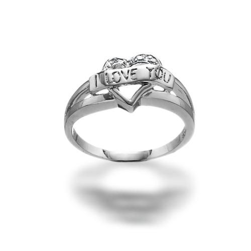 Sterling Silver CZ I Love You Heart Ring