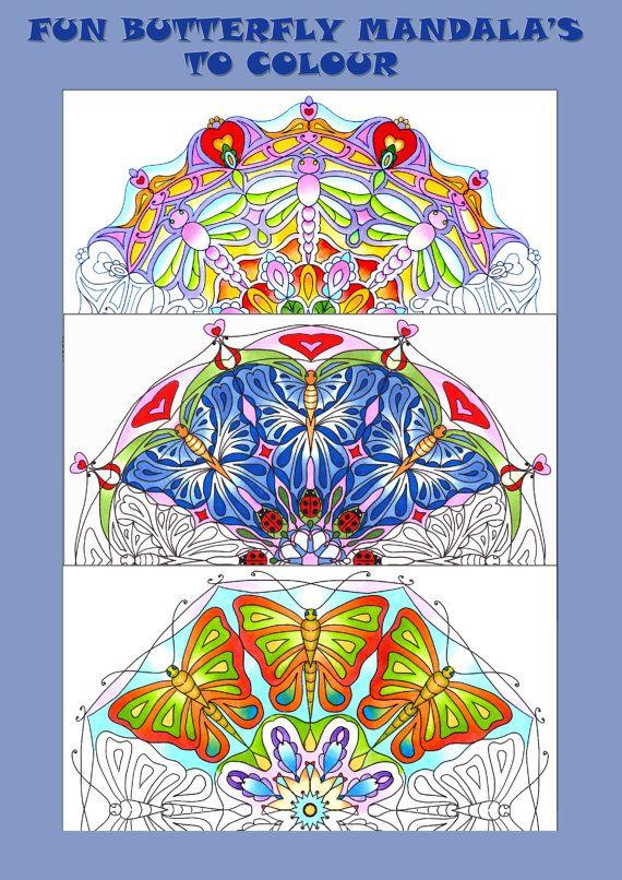 3 Hand Drawn Fun Butterfly Dragonfly Mandala's