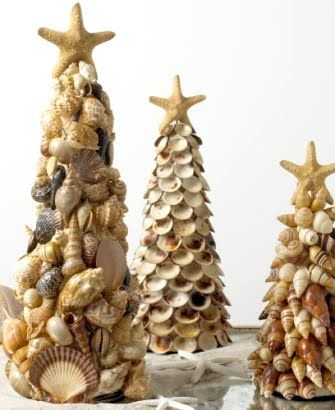 shell trees - great project for those that live in the hot beach climates! These are cute, I've decorated a tree with shells, but this is a beautiful decoration.