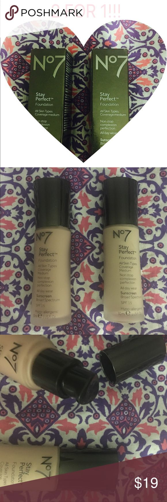 No. 7 Stay Perfect Foundation No. 7 Stay Perfect Foundation in WHEAT & WARM IVORY. 2 bottles for the price of 1. Brand new, never used. Makeup Face Primer
