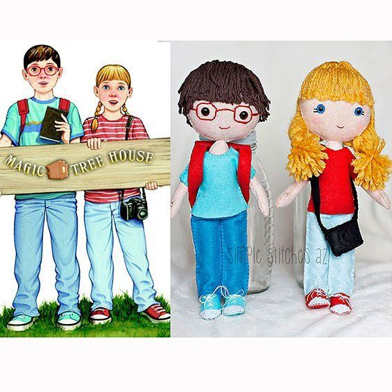 These Jack Annie Dolls Were A Custom Order For Jess They Are The Characters In The Magic Tree House Books Jess Sent Me The Picture On The Left And The Dolls