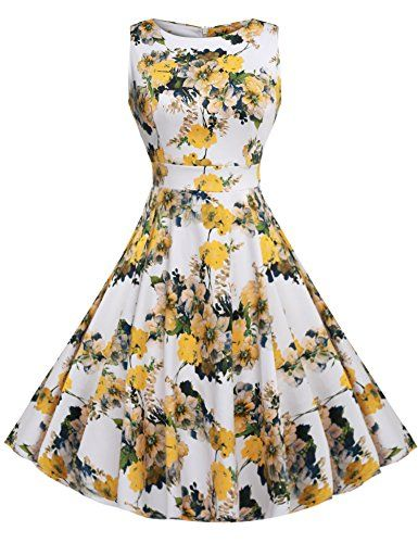 ACEVOG Vintage 1950's Spring Garden Party Picnic Dress Party Cocktail(Light Yellow M) $21.99