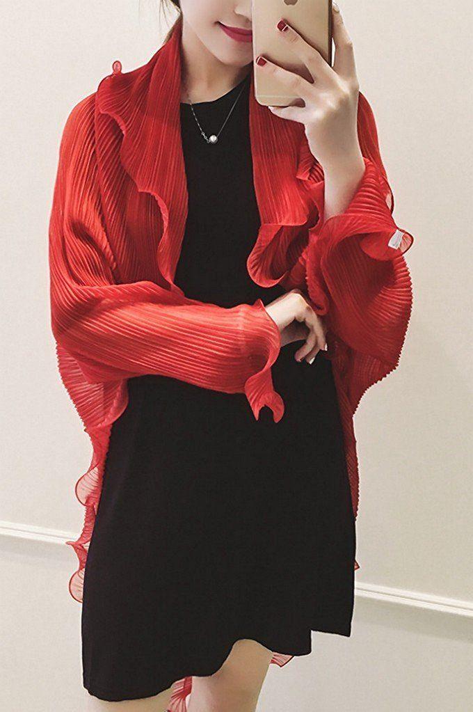 Amazon | さらふわ エアリー ドレッシー シフォン くしゅくしゅ アームホール 付き ストール ボレロ スカーフ ショール (パープル) | カーディガン・ボレロ 通販