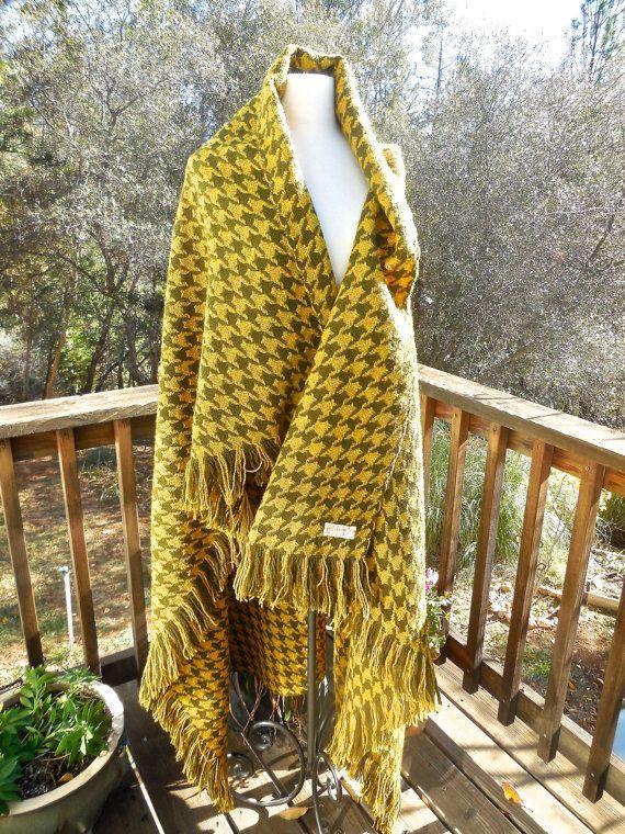 Vintage 60s Pendelton Blanket Throw 100% Wool in Green Orange Mustard MId Century