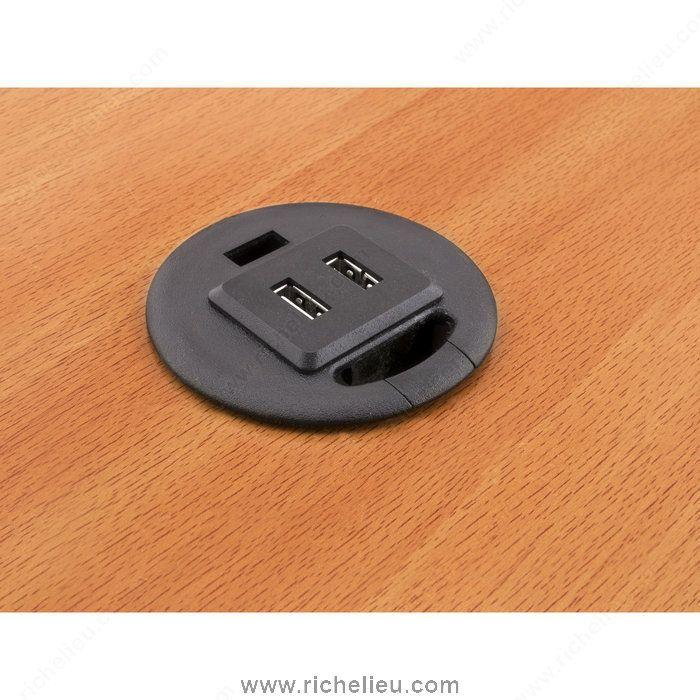 Passe-câble avec 2 ports USB de recharge - 7188102090 - Quincaillerie Richelieu